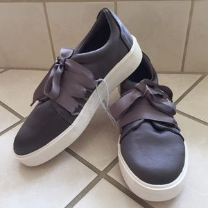 MADDEN GIRL Lanney Gray Satin Lace Up Sneakers NEW